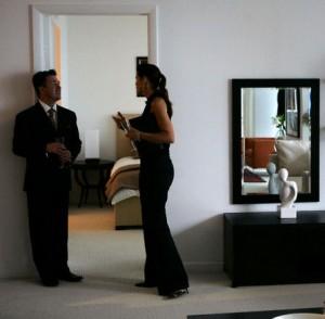 People talk inside Miami's Icon Brickell condo development