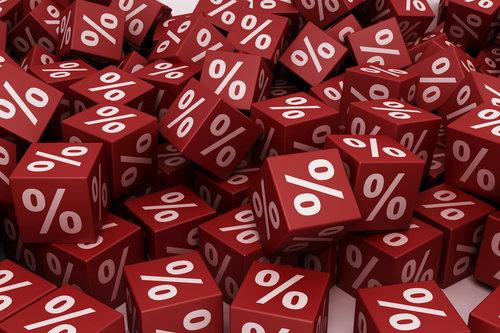 Red percent cubes