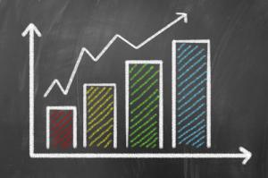 Financial chart concept on blackboard