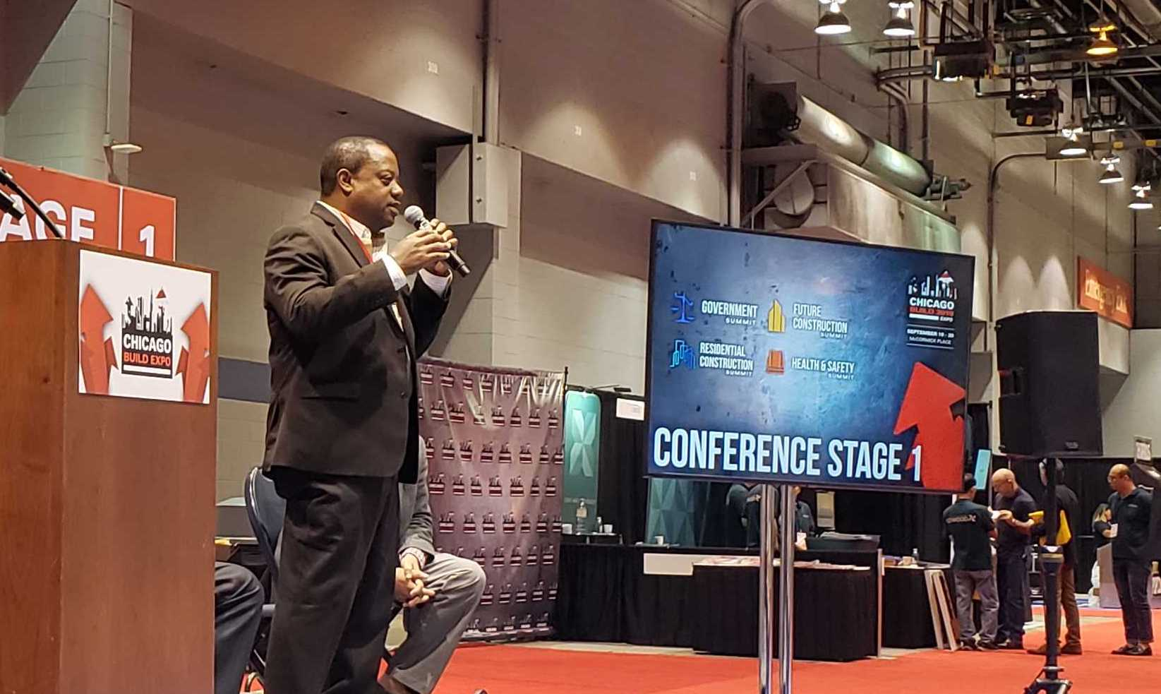 Roderick T. Sawyer, Alderman for Chicago's 6th Ward, addresses the audience at 2019 Chicago Build Expo