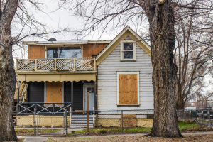 boarded up home