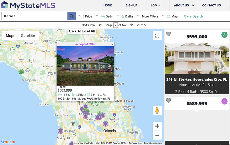 My State MLS Florida Map View