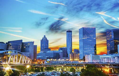 Downtown Atlanta, Georgia at night time