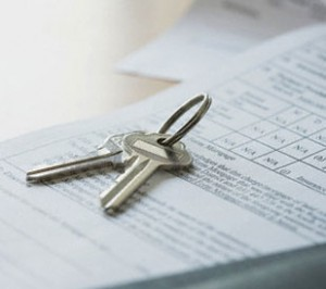 House keys on mortgage document
